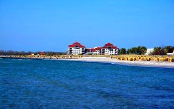 Strand und Hotelanlage